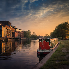 Swan Theatre - Stratford upon Avon by Dave Knibbs - Buildings & Architecture Public & Historical ( stratford upon avon, england, river avon, sunrise, narrow boat, river, shakespeare )