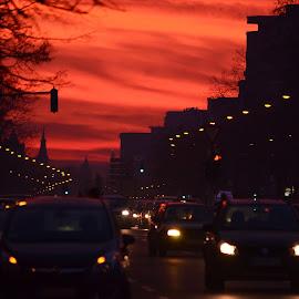 Not the day, not yet the night by Vladimir Bogovac - City,  Street & Park  Skylines ( skyline, traffic, street, night, dusk, city )