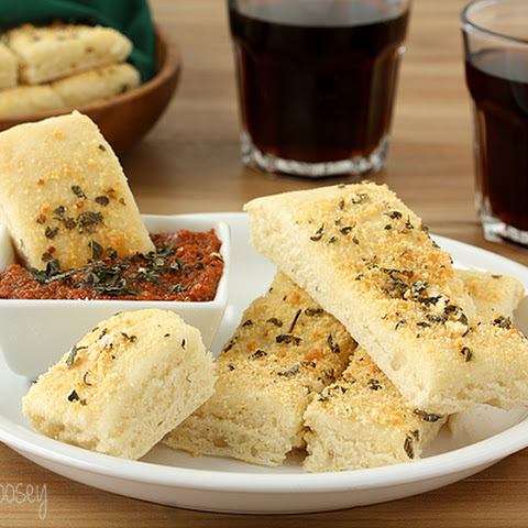 Pizza Hut Style Soft Garlic Parmesan Breadsticks with Pepperoni Dipping Sauce