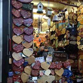 Fremantle Markets Gift Shop by Dawn Simpson - City,  Street & Park  Markets & Shops ( birdhouses, hearts, verse, markets, shops )