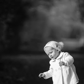 Tottering Child by Jamie Ledwith - Black & White Portraits & People ( child, walking, black and white, autumn, baby )