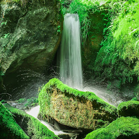 Peaceful  by Angela Taylor - Landscapes Waterscapes ( peaceful, green, waterfall, moss, cave river 2015, smug,  )