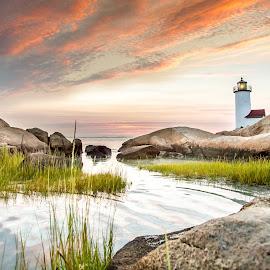Annisquam Harbor Light at Sunset by Jim DeMicco - Landscapes Sunsets & Sunrises ( #annisquam #lighthouse #sunset #clouds #water )
