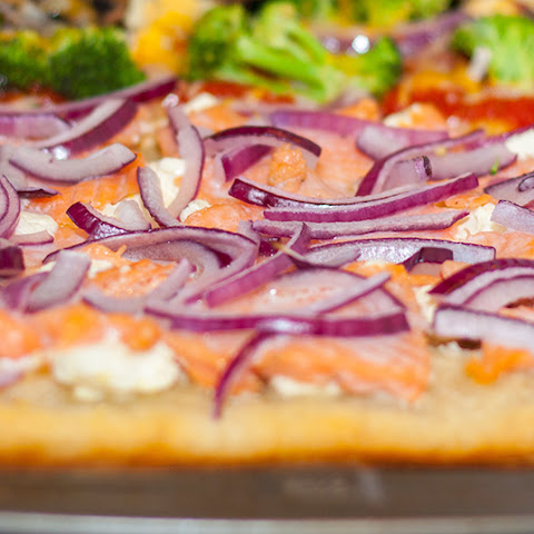 Salmon and Cream Cheese Pizza with Dill