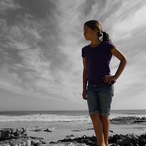 On the Beach by Domenic Gorin - Babies & Children Children Candids ( b&w, selective colour, girl, beach, young )