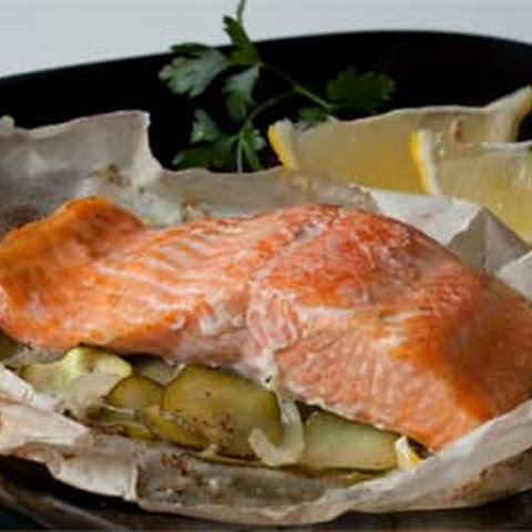 Salmon with Zucchini en Papillote (in Parchment)