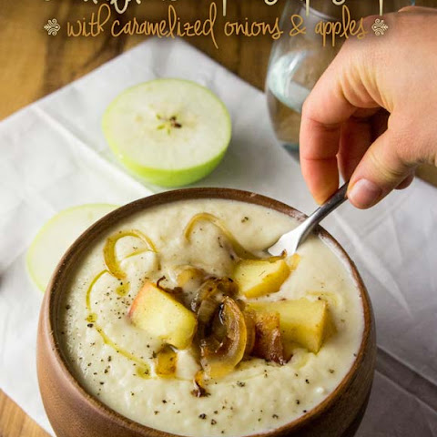 Cauliflower & Parsnip Soup with Caramelized Onions & Apples