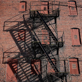 Shadows by Karen Harrison - Buildings & Architecture Decaying & Abandoned ( building, stairs, shadow, architecture, shadows )