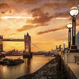 Tower Bridge, Dawn by Nick Moulds - City,  Street & Park  Vistas ( dawn, thames, london, tower bridge, golden, golden hour )