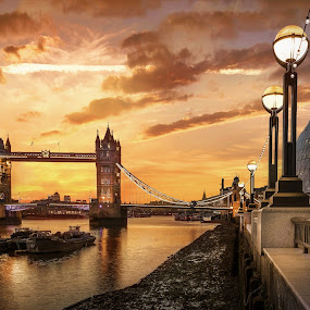 Tower Bridge, Dawn by Nick Moulds - City,  Street & Park  Vistas ( dawn, thames, london, tower bridge, golden, golden hour )