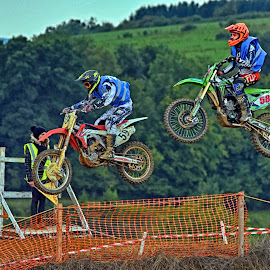 Chasing In The Air by Marco Bertamé - Sports & Fitness Motorsports ( 59, 58, chasing, speed, number, race, jump, noise, following, motocross, air, high, duel )