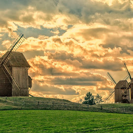 windmills by Tomasz Marciniak - Buildings & Architecture Other Exteriors ( windmills, evening, poland )