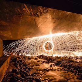 Steelwoolspinn! by Jens Andre Mehammer Birkeland - Abstract Fire & Fireworks ( water, steel wool, steelwool, fireworks, bridge, people, river )