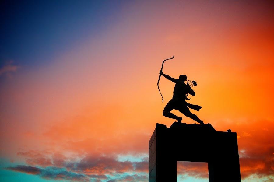 Archer's Might by Ferdinand Neman - Buildings & Architecture Statues & Monuments ( archer, colour, statue, sky, dawn )