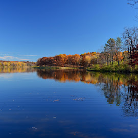 Blue Sky, Blue Water by Robert Coffey - Landscapes Waterscapes ( blue, autumn, fall, trees, lake )