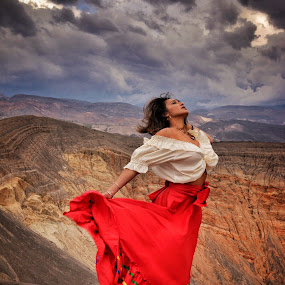 bailando en la lluvia by Patrick Miyoshi - People Portraits of Women ( model photo landscape dancing in the rain stormy clouds )