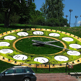 The street clocks by Svetlana Essig - Artistic Objects Other Objects ( time, clock, street, flowerbed, city, circle, pwc79, shapes geometric patterns  )