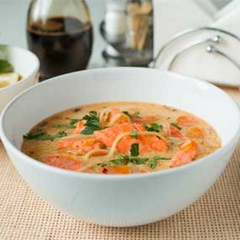 Thai Noodle Soup with Coconut and Salmon