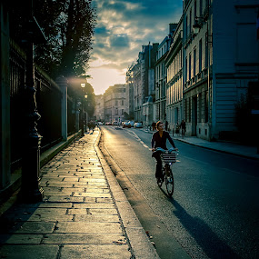 Sunset Bike Ride by Ralph Sobanski - City,  Street & Park  Street Scenes ( paris, bike, creative, blue, sunsets, sunset, france, city )