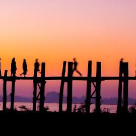 Silhouettes on the bridge by Andreja Novak - People Street & Candids ( water, silhouette, travel, bridge, people )