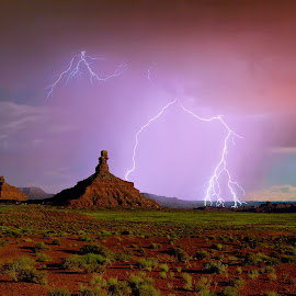 Wrath of the Rooster by Steven Love - Landscapes Weather ( famous, hdr, depiction, valley of the gods, sandstone, rock, high dynamic range, storm, landscape, photography, landmark, lightning, butte, utah, sunset, sundown, rain, formation )