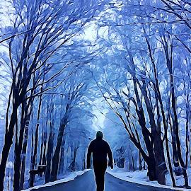 A Solitary Walk  by Irina Aspinall - Digital Art People ( winter, park, digital art, snow, trees, canvas, walk )