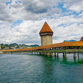 Lucerne (Switzerland) and its flowery bridge by Radu Eftimie - Buildings & Architecture Bridges & Suspended Structures ( water, brifge, buildings, sitzerland, lucerne )