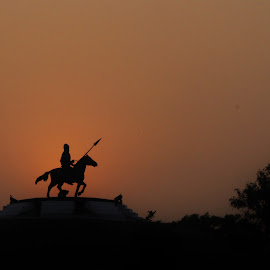 The Gallant Warrior by Jatinder Joshi - Buildings & Architecture Statues & Monuments ( fateh burj, victory, history, sikh, banda bahadur, battle, silhouette, mohali, sikh empire, chhapar chiri )