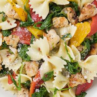 Farfalle with Sausage, Roasted Peppers, and Arugula