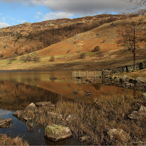 by Carol Lauderdale - Landscapes Waterscapes ( lake district tarns, blea tarn, reflections, warm colours )