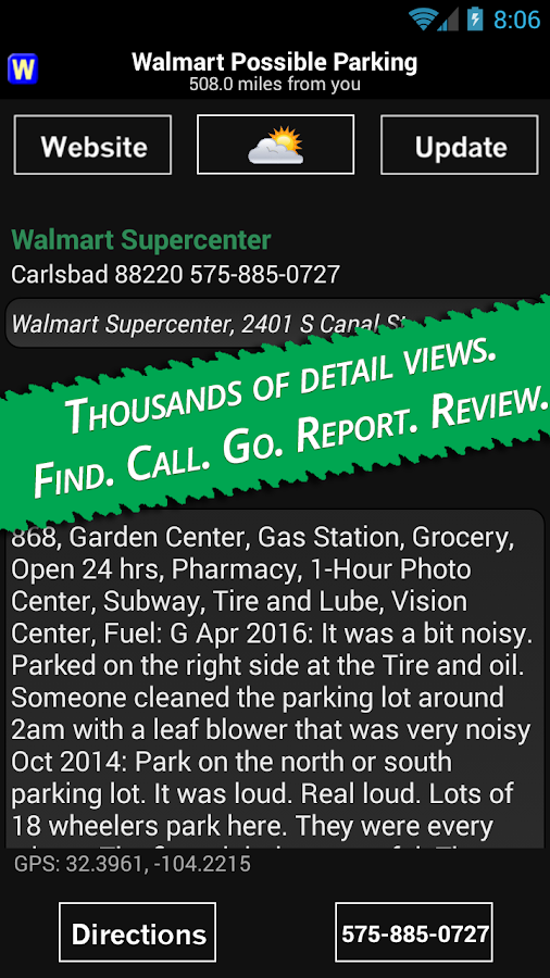 Walmart Overnight Parking Screenshot 1