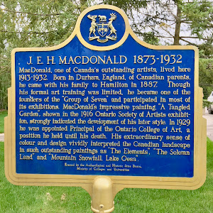 J. E. H MACDONALD 1873-1932  MacDonald, one of Canada's outstanding artists, lived here  1913-1932. Born in Durham, England, of Canadian parents,  he came with his family to Hamilton in 1887 Though  ...