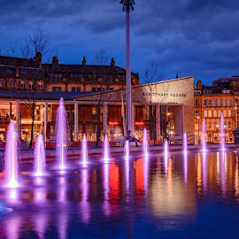 Centenary Square by Darrell Evans - City,  Street & Park  Night ( lights, water, building, bradford, town hall, fountain, d7100, centenary square, stone, town, nikon, city )