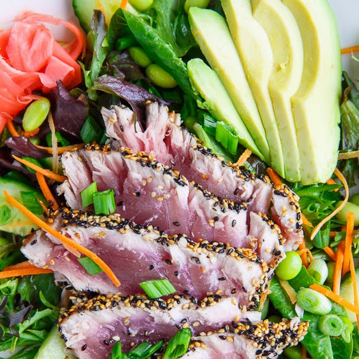 Sesame Crusted Seared Ahi Tuna 'Sushi' Salad with Wasabi Vinaigrette ...