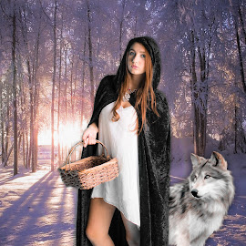 Grandmothers house we go by April Sadler - Digital Art People ( #girl#wolf#snow#winter#sun#cold )