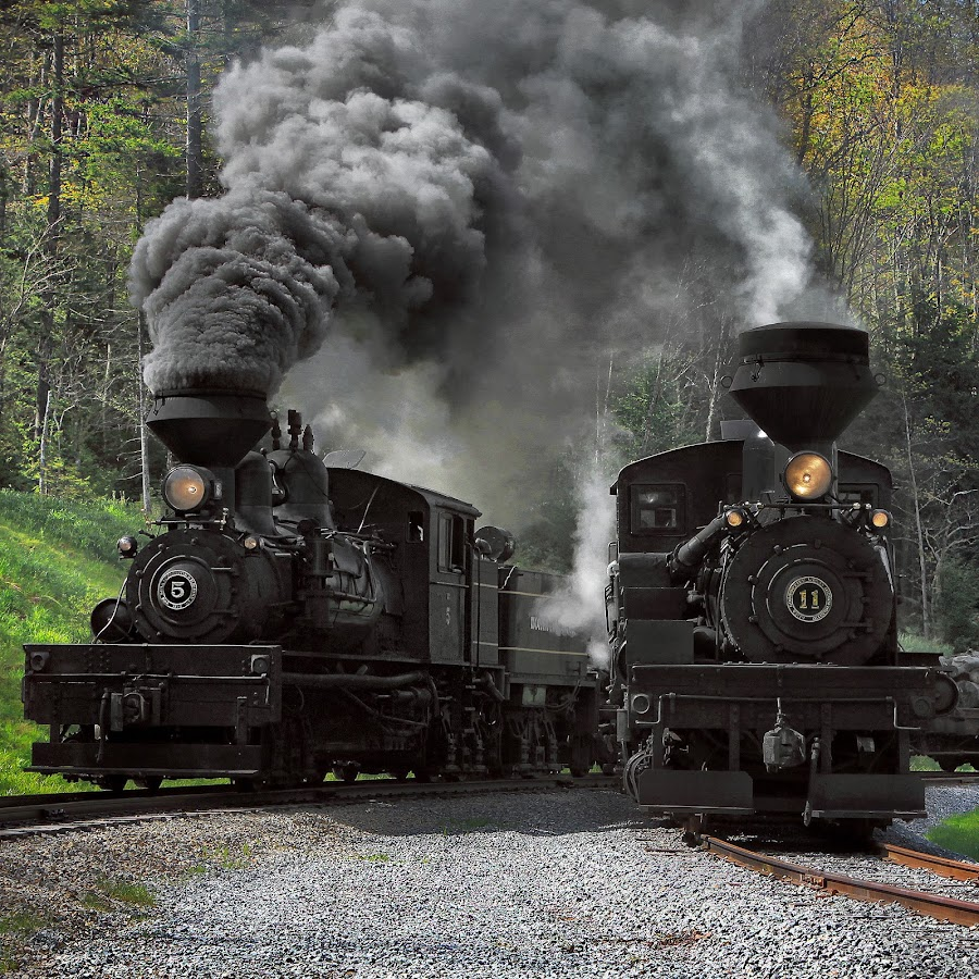 Two for the Show by Chuck  Gordon  - Transportation Trains ( cass, shay 5, steam trains, shay 11, smoke )
