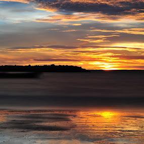 slow shutter at Jerudong beach by Mohamad Sa'at Haji Mokim - Landscapes Beaches ( sunset, beach )