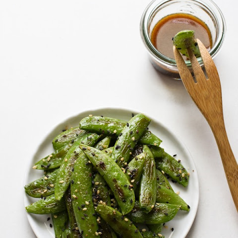 Roasted Sugar Snap Peas with Sesame Dipping Sauce