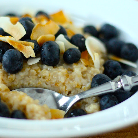 Triple Coconut Steel Cut Oatmeal with Blueberries