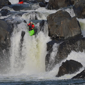 Over The Edge by David Lovingood - Sports & Fitness Watersports ( water, great falls, waterfalls, falls, maryland, virginia, kayak, rocks, potomac river, river )
