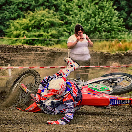 Shit Happens ! by Marco Bertamé - Sports & Fitness Motorsports ( ground, number, race, seven hundred eight, shit happens, red, motocross, dust, fall, clumps, alone, 708, competition )