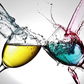 Wine glasses and colourful water by Peter Salmon - Artistic Objects Glass ( water, splashing, glasses, pour, glass )