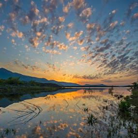 lake Peruca by Nediljko Prološčić - Landscapes Sunsets & Sunrises ( clouds, water, color, sunset, lake, landscape )