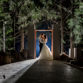 Doorway at Night by Lood Goosen (LWG Photo) - Wedding Bride & Groom ( wedding photography, wedding photographers, night photography, wedding day, weddings, wedding, brides, wedding photographer, bride and groom, bride, groom, bride groom,  )