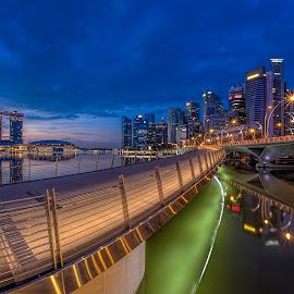 Shenton @ Blue Hour by Gordon Koh - City,  Street & Park  Night ( clouds, shenton way, skyline, cityscape, travel, singapore, city, fullerton, blue hour riverfront, financial district, skyscraper, asia, buildings, jubliee bridge, long exposure, waterfront )