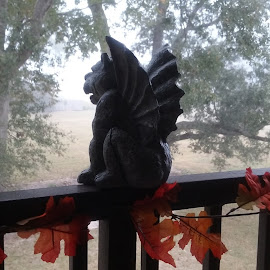 The Gargoyle Protector by Denise DuBos - Public Holidays Halloween ( protector, uninvited, perch, doorway, gargoyle, fog )