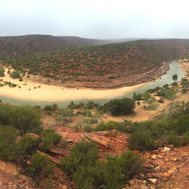 The River Bend by Charline Ratcliff - Landscapes Mountains & Hills ( australia, kalbarri national forest, kalbarri, travel, landscape, western australia, river )