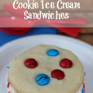 Red White and Blue Cookie Ice Cream Sandwiches