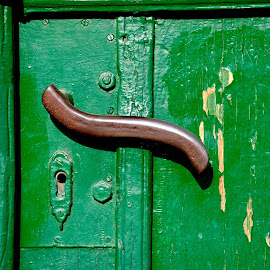 Doorhandle by Péter Mocsonoky - Artistic Objects Antiques ( old, geen, handle, door, doorhandle )