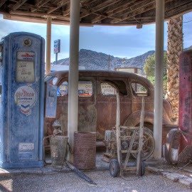 Fill er up by Kimberly Hunker - Artistic Objects Antiques ( car, gas, filling station, antique, fuel pump )